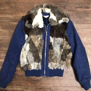 Fur n denim bomber jacket